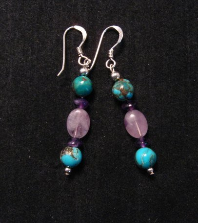 Image 0 of Navajo Turquoise Mixed Bead Earrings, Everett & Mary Teller