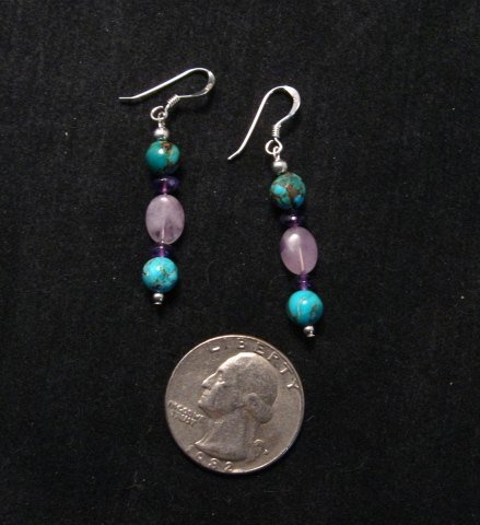 Image 1 of Navajo Turquoise Mixed Bead Earrings, Everett & Mary Teller