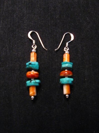 Image 0 of Navajo Turquoise Spiny Oyster Bead Earrings, Everett & Mary Teller