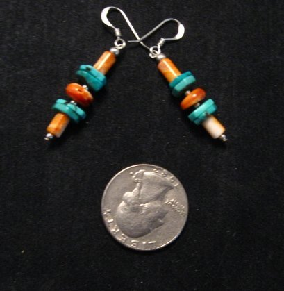 Image 1 of Navajo Turquoise Spiny Oyster Bead Earrings, Everett & Mary Teller