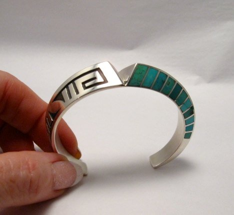 Image 1 of Lonn Lonnie Parker Navajo Turquoise Inlay Silver Twist Bracelet Native American