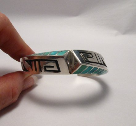 Image 2 of Lonn Lonnie Parker Navajo Turquoise Inlay Silver Twist Bracelet Native American