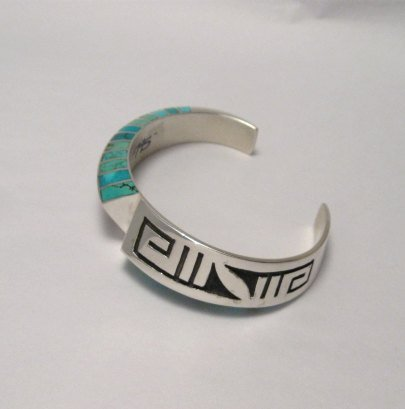 Image 3 of Lonn Lonnie Parker Navajo Turquoise Inlay Silver Twist Bracelet Native American