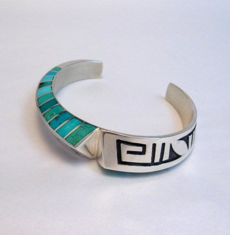Image 0 of Lonn Lonnie Parker Navajo Turquoise Inlay Silver Twist Bracelet Native American