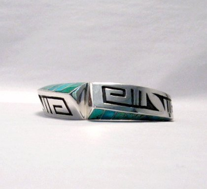 Image 4 of Lonn Lonnie Parker Navajo Turquoise Inlay Silver Twist Bracelet Native American