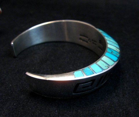 Image 5 of Lonn Lonnie Parker Navajo Turquoise Inlay Silver Twist Bracelet Native American