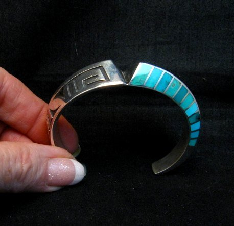 Image 6 of Lonn Lonnie Parker Navajo Turquoise Inlay Silver Twist Bracelet Native American