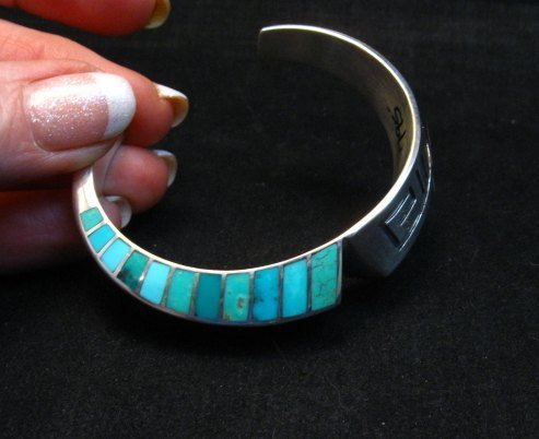 Image 8 of Lonn Lonnie Parker Navajo Turquoise Inlay Silver Twist Bracelet Native American
