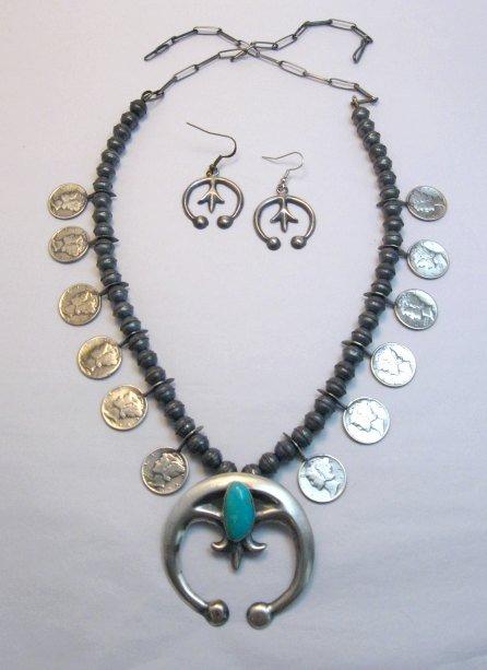 Image 0 of Mildred Parkhurst Navajo Mercury Dime Necklace & Naja Earrings Set