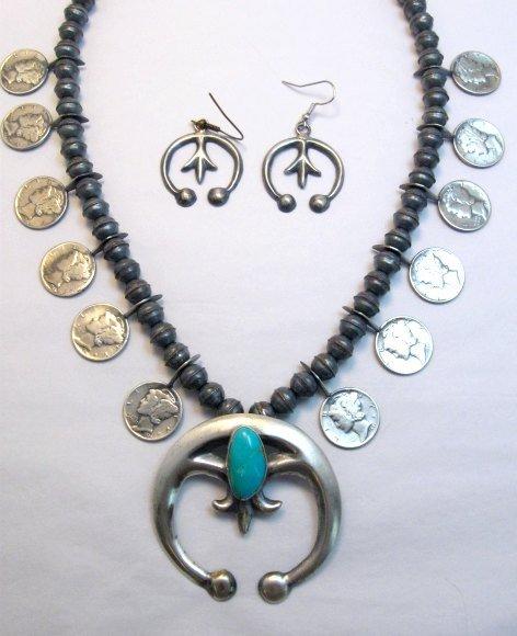 Image 1 of Mildred Parkhurst Navajo Mercury Dime Necklace & Naja Earrings Set
