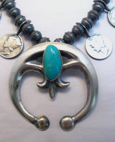 Image 2 of Mildred Parkhurst Navajo Mercury Dime Necklace & Naja Earrings Set