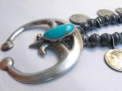 Image 3 of Mildred Parkhurst Navajo Mercury Dime Necklace & Naja Earrings Set