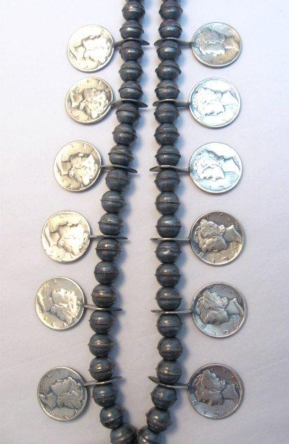 Image 5 of Mildred Parkhurst Navajo Mercury Dime Necklace & Naja Earrings Set