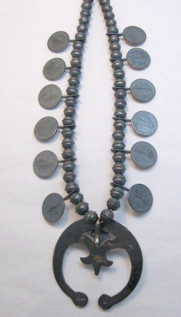 Image 6 of Mildred Parkhurst Navajo Mercury Dime Necklace & Naja Earrings Set