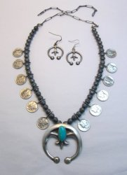 Mildred Parkhurst Navajo Mercury Dime Necklace & Naja Earrings Set