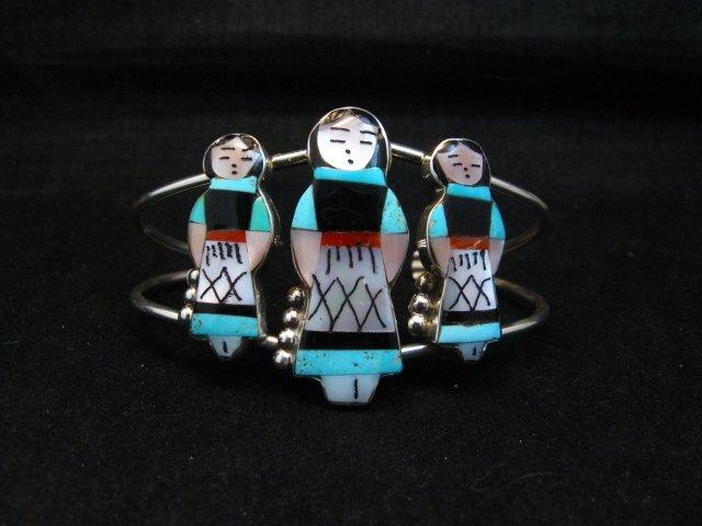 Image 0 of Zuni Indian Multi Maiden Inlay Silver Bracelet By Joyce Waseta