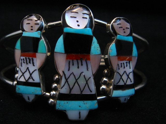Image 1 of Zuni Indian Multi Maiden Inlay Silver Bracelet By Joyce Waseta