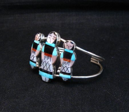 Image 2 of Zuni Indian Multi Maiden Inlay Silver Bracelet By Joyce Waseta
