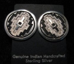 Dan Jackson Navajo Native American Rug Design Silver Earrings