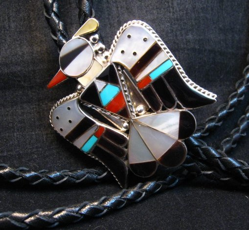 Image 2 of Zuni Multi Inlay Thunderbird Bolo, Bobby Shack