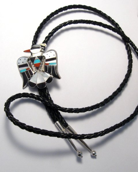 Image 5 of Zuni Multi Inlay Thunderbird Bolo, Bobby Shack