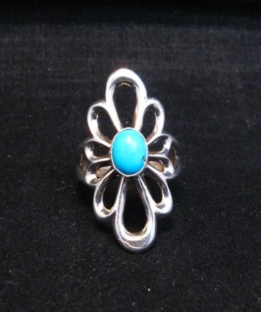 Image 1 of Fancy Navajo Tufa Sterling Silver Turquoise Ring sz9