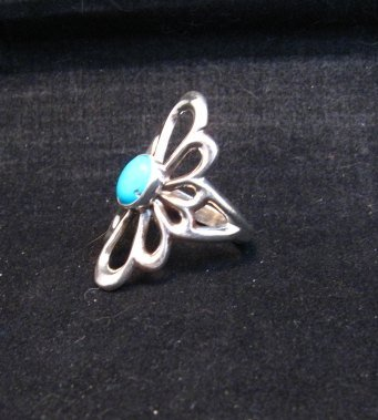 Image 3 of Fancy Navajo Tufa Sterling Silver Turquoise Ring sz9
