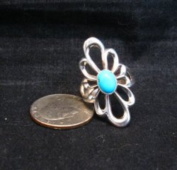 Fancy Navajo Tufa Sterling Silver Turquoise Ring sz9