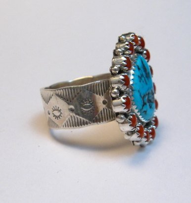 Image 4 of Navajo Native American Turquoise Coral Cluster Silver Ring sz9-1/2