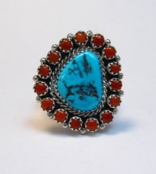 Navajo Native American Turquoise Coral Cluster Silver Ring sz9-1/2