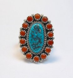 Navajo Gaynell Parker Turquoise Coral Cluster Silver Ring sz10