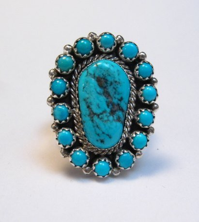 Image 0 of Navajo Native American Turquoise Cluster Silver Ring sz9, Gaynell Parker