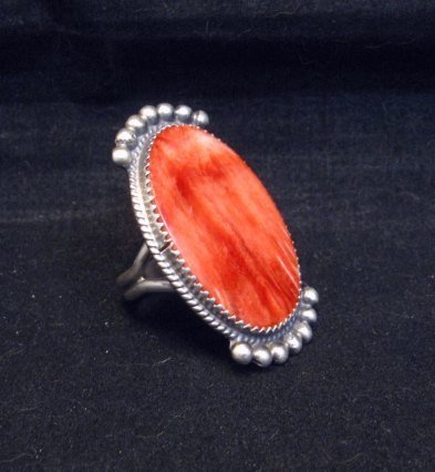 Image 2 of Betty Joe Navajo Orange Spiny Oyster Ring sz7-1/2