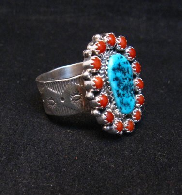 Image 1 of Navajo Gaynell Parker Turquoise Coral Silver Ring sz8-7/8
