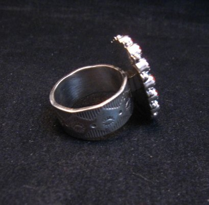 Image 3 of Navajo Gaynell Parker Turquoise Coral Silver Ring sz8-7/8