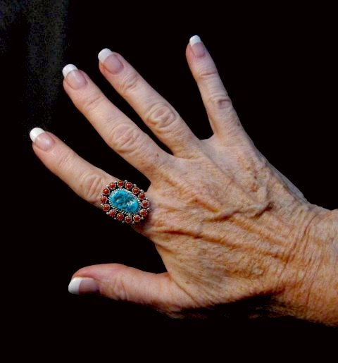 Image 4 of Navajo Gaynell Parker Turquoise Coral Silver Ring sz8-7/8