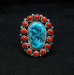 Navajo Gaynell Parker Turquoise Coral Silver Ring sz8-7/8