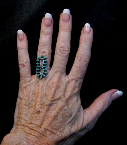 Image 1 of Vintage Native American Turquoise Cluster Silver Ring Sz6-1/2