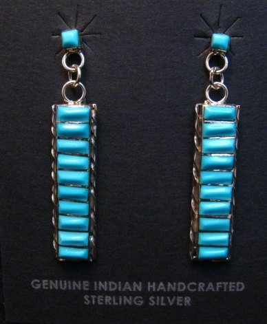 Image 0 of Native American Zuni Turquoise Sterling Silver Earrings, Gloria Tucson