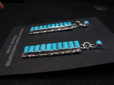 Image 1 of Native American Zuni Turquoise Sterling Silver Earrings, Gloria Tucson