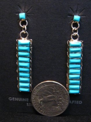 Image 2 of Native American Zuni Turquoise Sterling Silver Earrings, Gloria Tucson