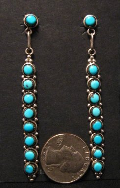 Image 0 of Long Zuni Turquoise Sterling Silver Earrings, Verde Booqua
