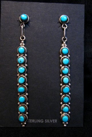 Image 1 of Long Zuni Turquoise Sterling Silver Earrings, Verde Booqua