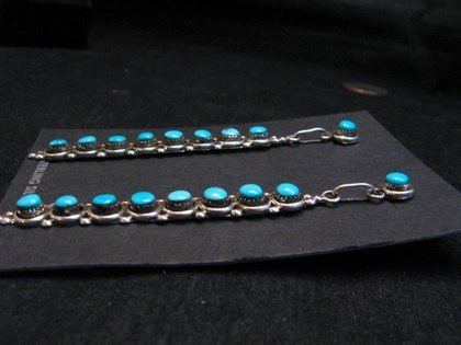 Image 2 of Long Zuni Turquoise Sterling Silver Earrings, Verde Booqua
