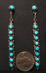 Long Zuni Turquoise Sterling Silver Earrings, Verde Booqua