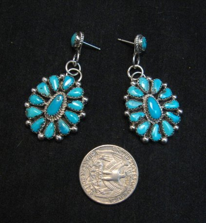 Image 2 of Navajo Turquoise Cluster Silver Earrings, Eunice Wilson
