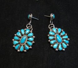 Navajo Turquoise Cluster Silver Earrings, Eunice Wilson