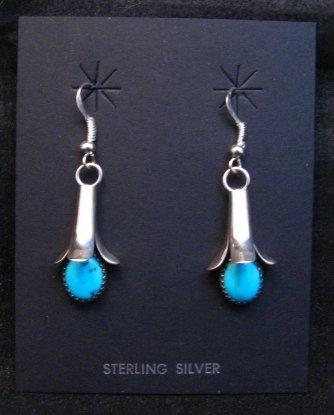 Image 0 of Navajo Turquoise Squash Blossom Earrings, Doris Smallcanyon
