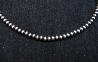 Image 0 of Native American 4mm Bead Navajo Pearls Sterling Silver Necklace 20-inch long