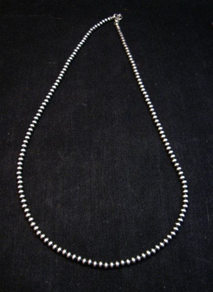 Image 1 of Native American 4mm Bead Navajo Pearls Sterling Silver Necklace 20-inch long